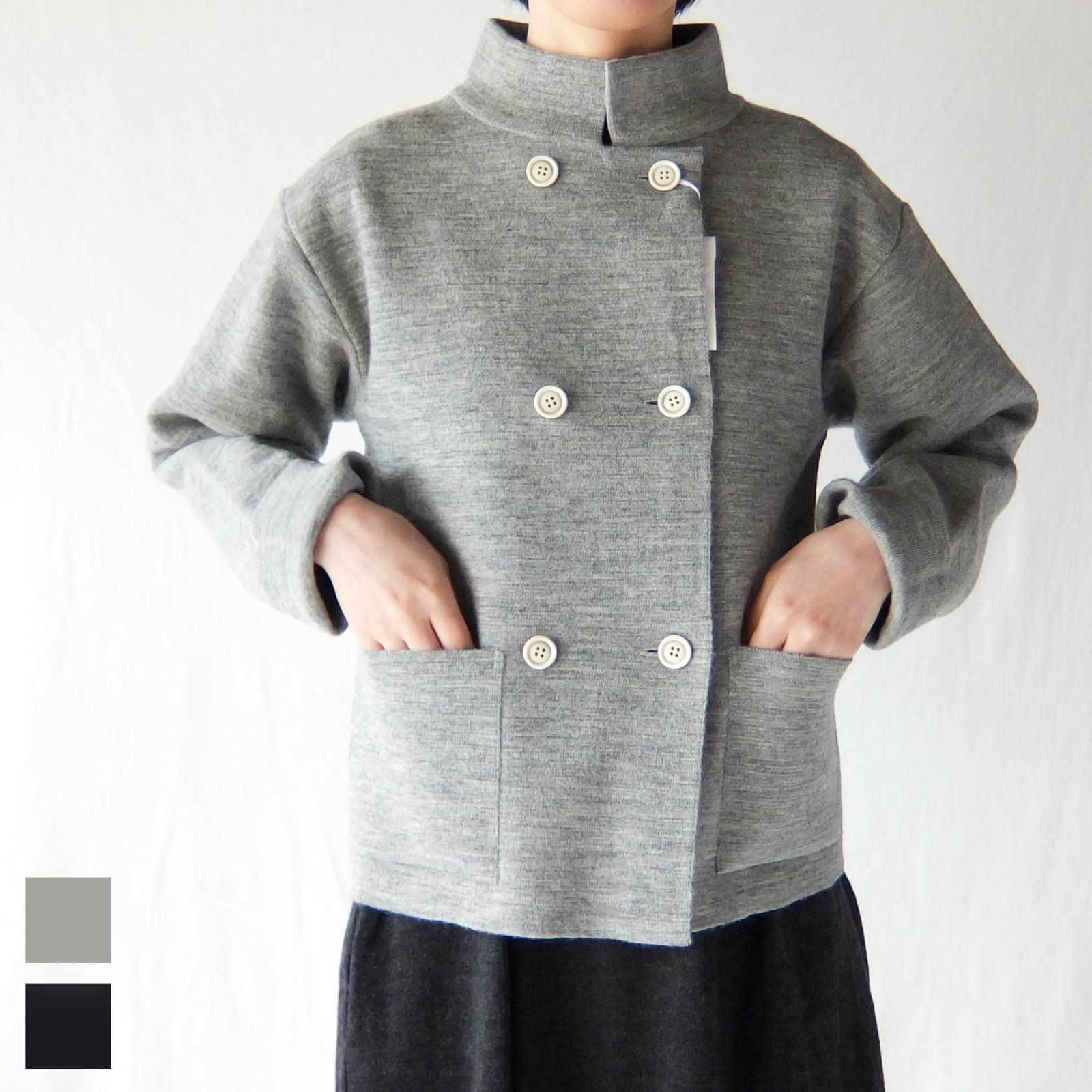 HAND ROOM WOMEN'S - ミラノリブ Pコート風 ニットジャケット - Navy / Light Grey