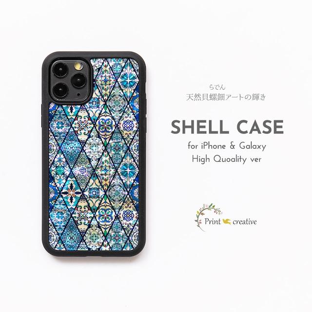 【iPhone/Galaxy対応】天然貝シェル★ブルーモロッコタイル(ハイクオリティケース)螺鈿アート|iPhone13対応
