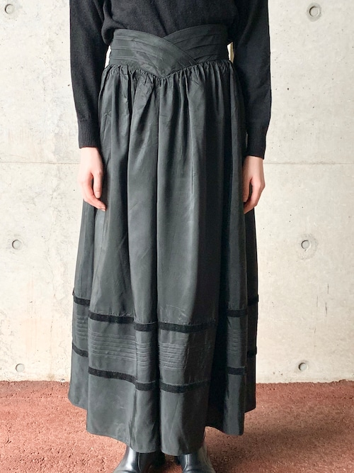 Vintage Gathered Skirt With Velvet Tape Made In West Germany