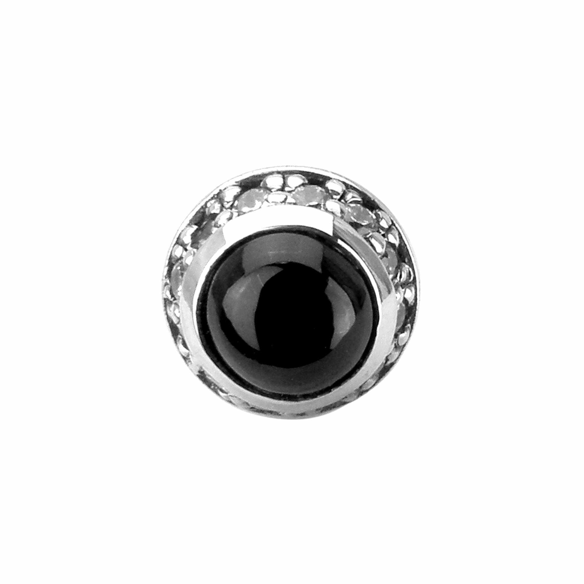 ラウンドブラックスターピアス ACE0061 Round black star earrings