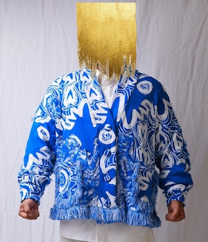 TYPICAL FREAKS - TFAW19-42 - BLUE MOON COAT OVERSIZED KNITTED PATCHWORK FLUFFY CARDIGAN COAT WITH FRINGE DETAIL (サイズ特注)