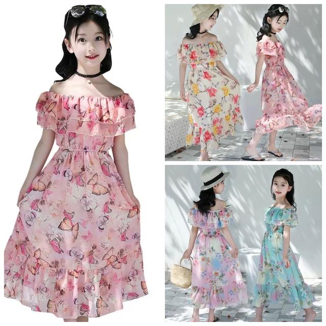 120~160cm  4カラー ★ ワンピース ドレス 花柄 夏服