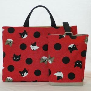 通園バッグセット/赤地に猫柄の絵本バッグセット(5-193)