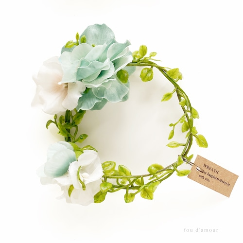【キャンドル付き】グラス彩る紫陽花リース