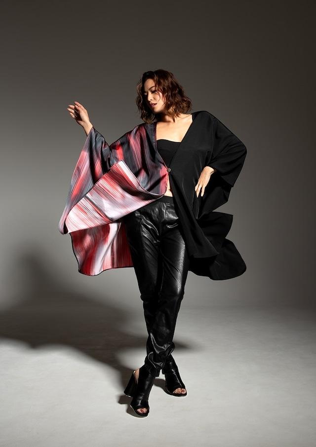 着物ポンチョ(Kimono poncho)Black×red