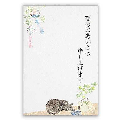 猫葉書(夏のご挨拶はがき)まどろみ