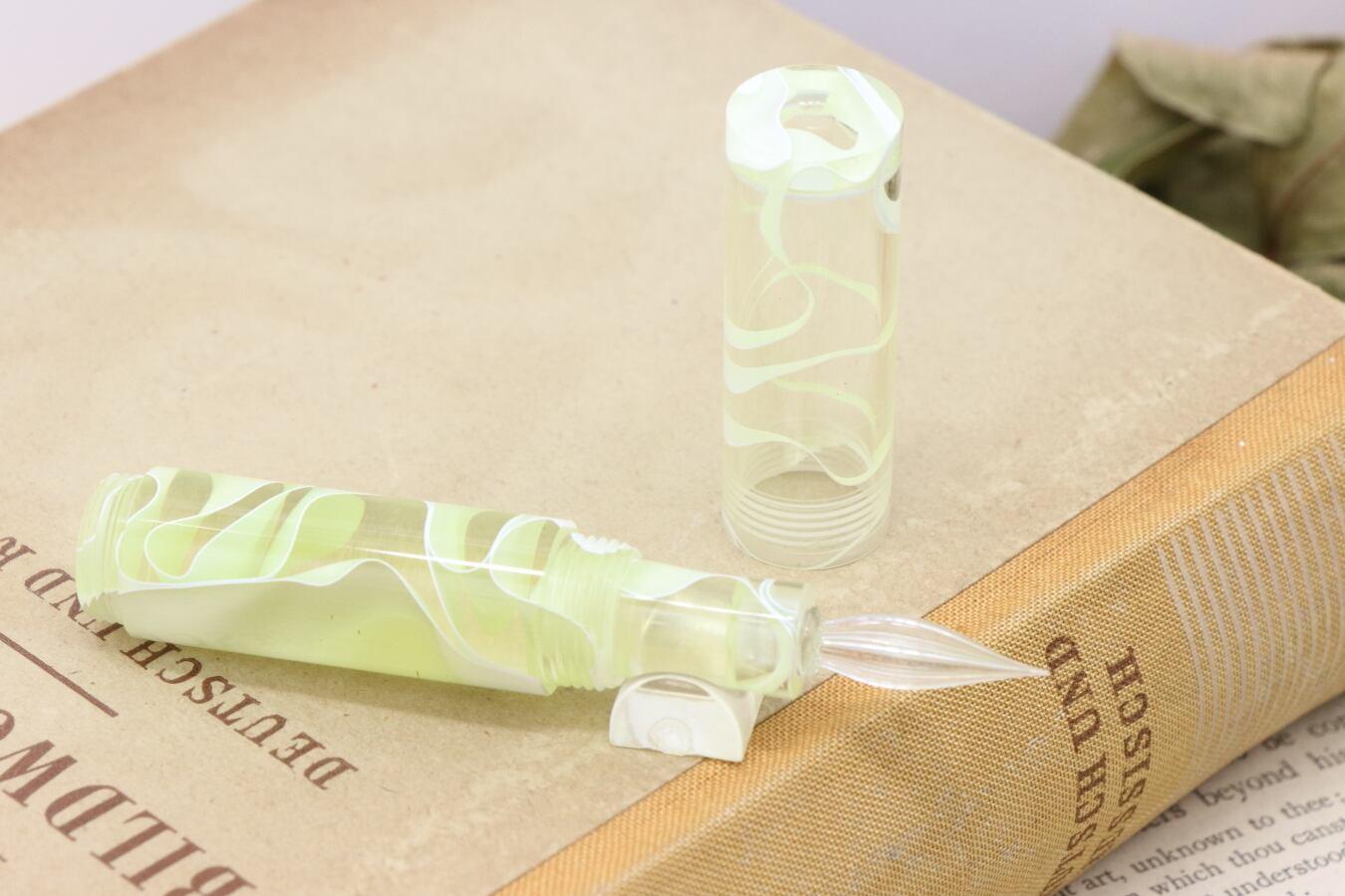 受注制作「Lapis mini・レモンウォーター」Viriditas手作りキャップ付きガラスペン