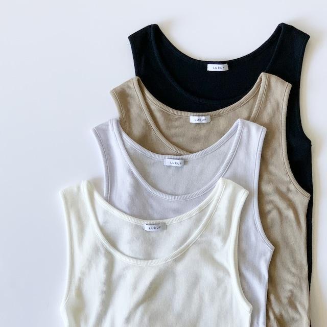 LUEUF - 40/1 TEREKO コットンフリルロングタンクトップ - White / Greige / Lavender / Black