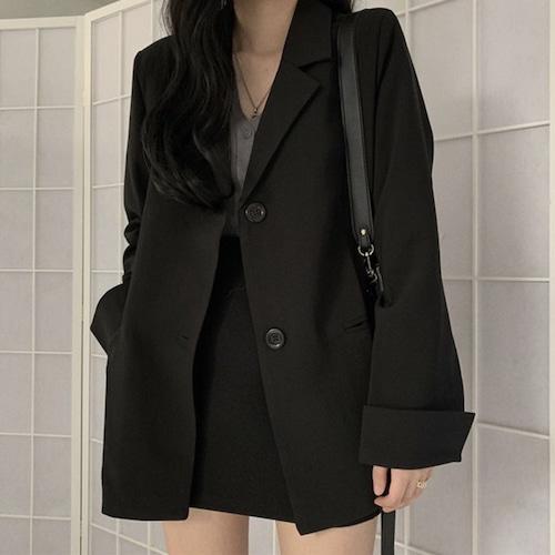 テーラードジャケット 韓国ファッション レディース ジャケット シングルブレスト ロング丈 レトロ ガーリー DTC-602752634508
