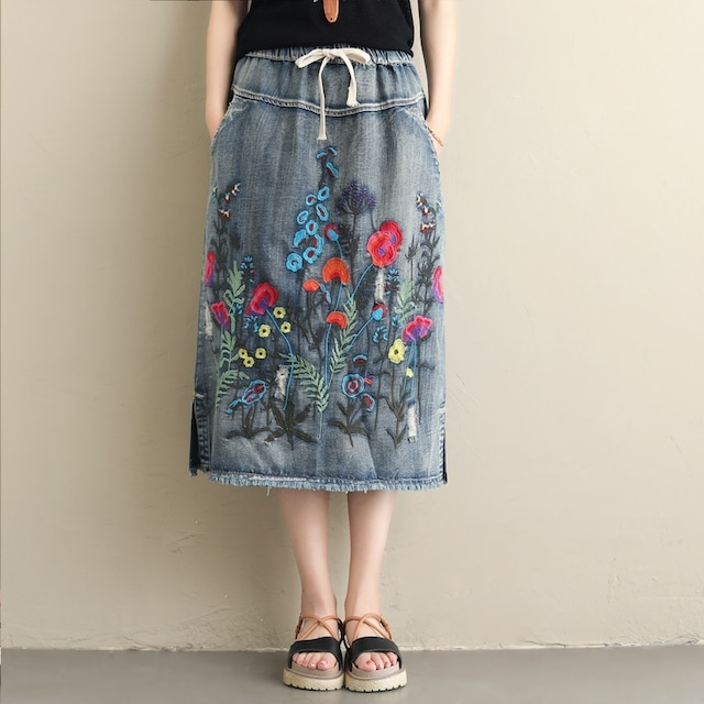 プラスサイズ ウエスト 夏カジュアルルーズ ロングデニムスカート
