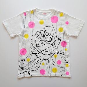 F's rose【 藤井清秀  Tシャツアート】イエロー/ピンクドット S
