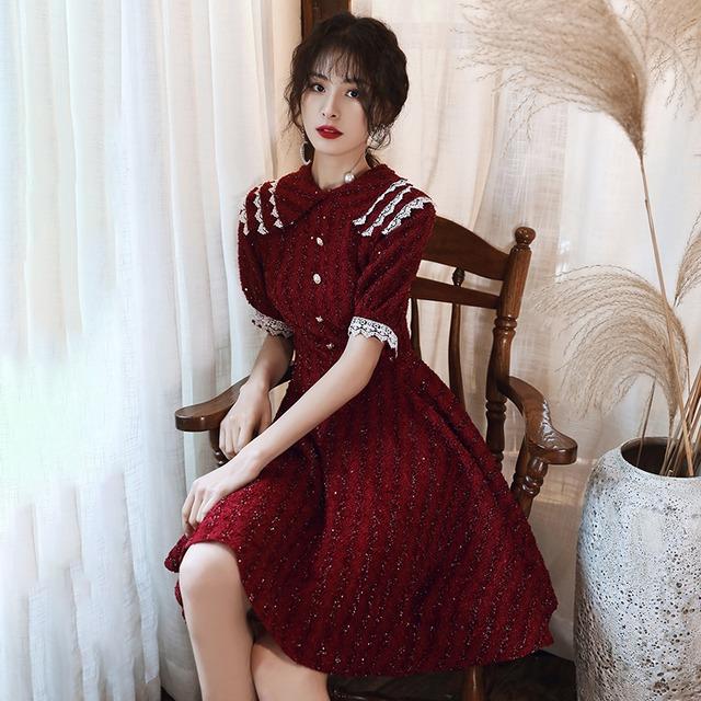 【薇绣シリーズ】★成人式ドレス★ パーティー ワンピース 赤 大きいサイズ S M L LL 3L 気質アップ 可愛い