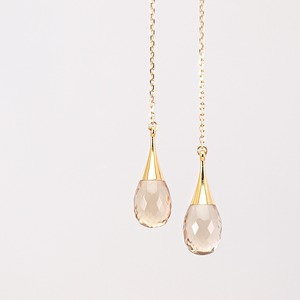 Drop american earrings / Champagne quartz