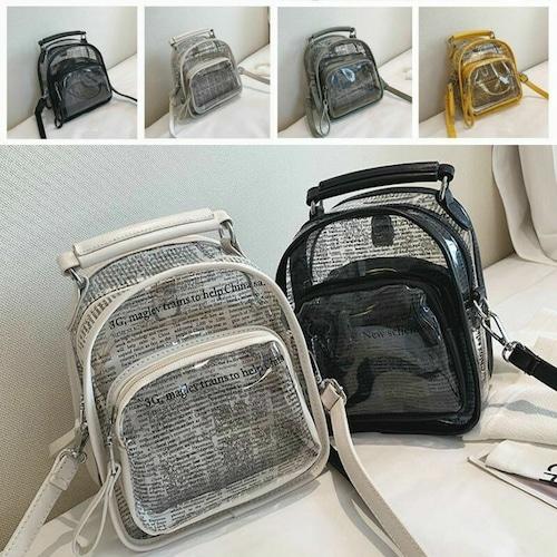 ビニールミニデイパック 韓国ファッション ミニバッグ リュック バッグinバッグ付き プラス英字プリント レディース オルチャン DCT-591597501702