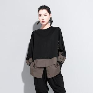 長袖 トップス 長袖Tシャツ ブラウス パッチワークシャツ モード系 原宿 レディース ブラック 黒 9079