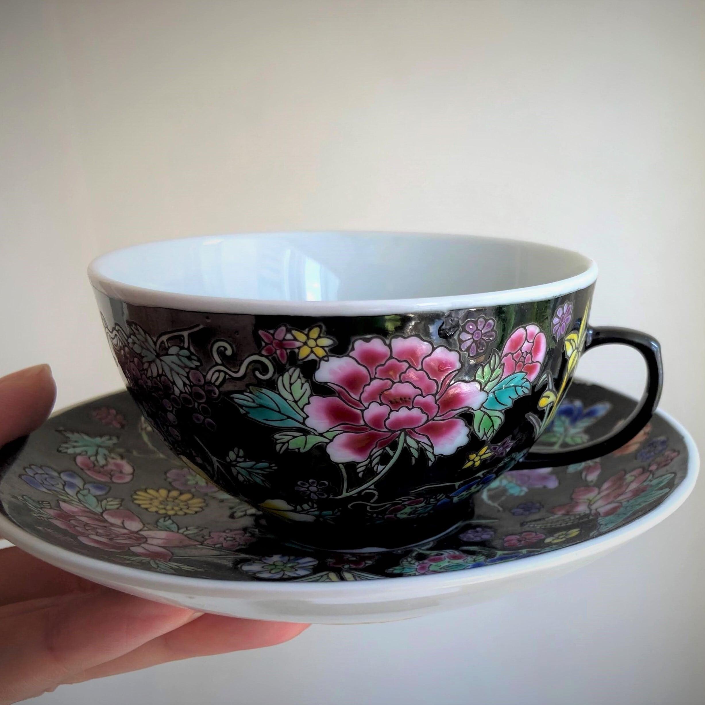 『黒花のカップ&ソーサー/ティーセット』景徳鎮