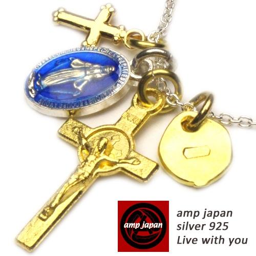 AMP JAPAN/アンプジャパン   キリストクロス&樹脂マリアメダイネックレス 16ahk-176