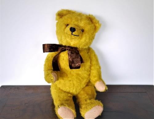 ドイツ・ヴィンテージ テディベア グロウラー鳴き笛入り クマのぬいぐるみ イエロー