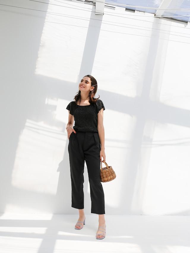 color tuck pants(black)