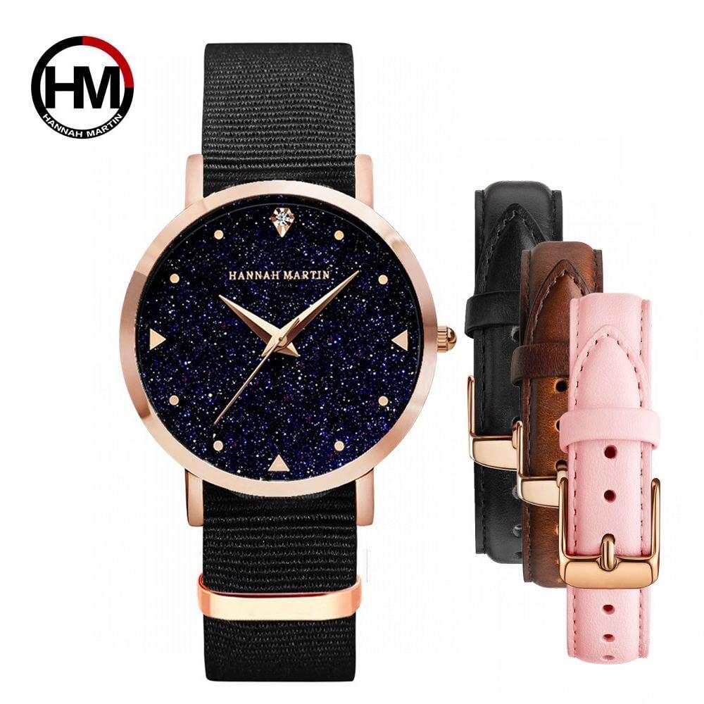 女性ウォッチトップラグジュアリーブランド1セット日本のオリジナルムーブメントクォーツ腕時計レディース防水レザーフラッシュスターダイヤル時計XK36-FN-KHF