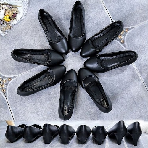 選べる3パターンヒール パンプス シンプル ブラック 韓国ファッション レディース ポインテッドトゥ キュート 痛くない かわいい 靴 歩きやすい 563556114132