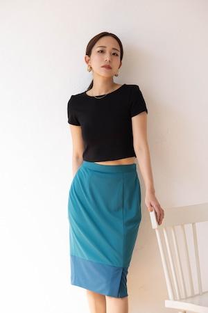 stretch smooth knit skirt -emerald-