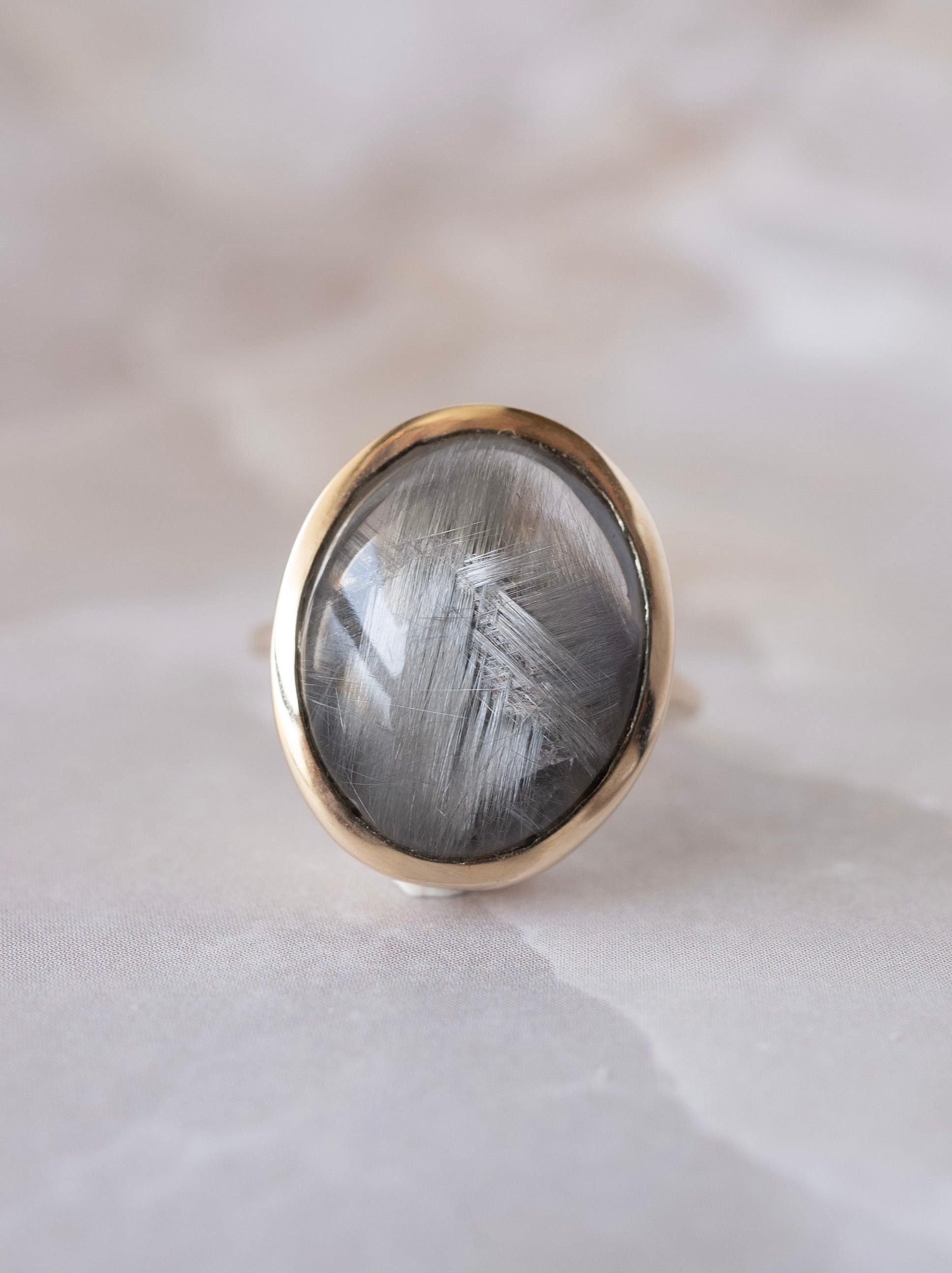 Brookite in Quartz Ring