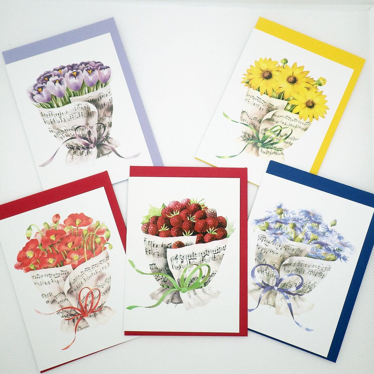 音楽の花束【ラズベリー】 メッセージカード5枚セット ドイツ製