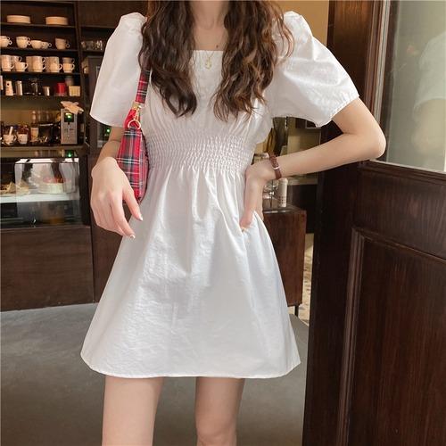 ワンピース ミニ丈 Aライン ホワイト スクエアネック 韓国ファッション レディース 白 ハイウエスト シンプル ガーリー 616628163164_wt