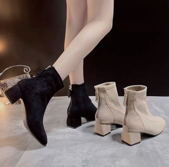 velvet short boots 2color