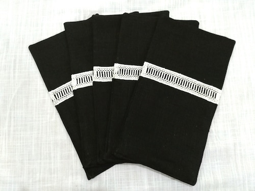 Curtlery Pocket Line Lace Black 6pieces カトラリーポケットラインレース ブラック6点セット