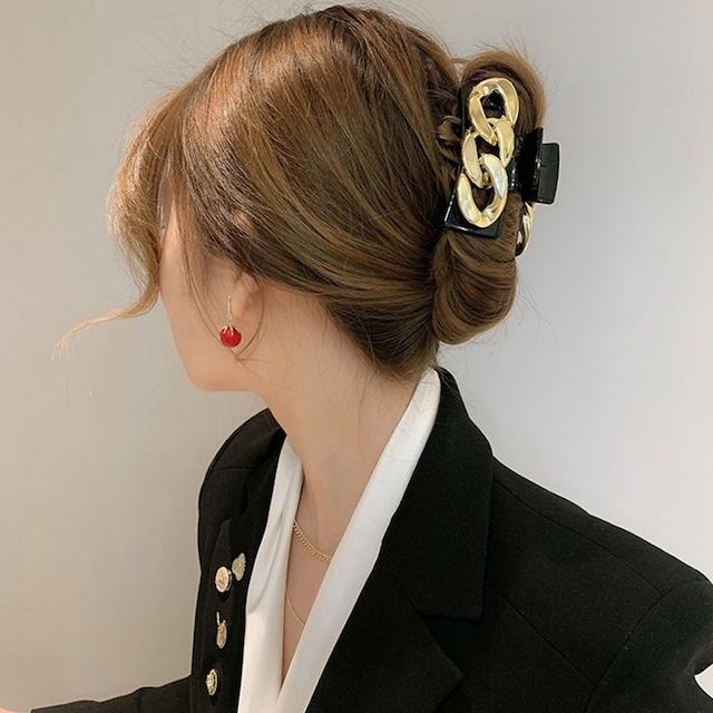 ヘアアクセサリー バンスクリップ ヘアクリップ 韓国 ヘアレンジ 簡単 まとめ髪  シンプル 大人 レディース 女性 ブラック ゴールド 大きめ ビッグチェーンバンスクリップ