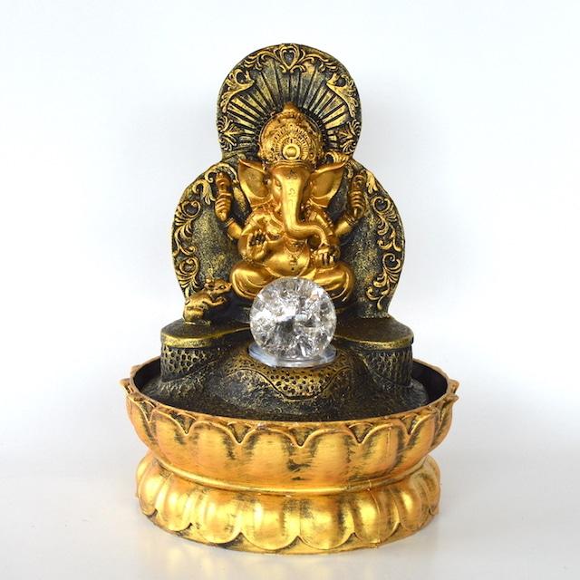 流水のオブジェ 縁起物 ガネーシャ aq21051 象 ヒンドゥー教 置物 神仏 金運アップ 開運 商売繁盛 噴水 インテリア噴水 卓上噴水 ライト付き