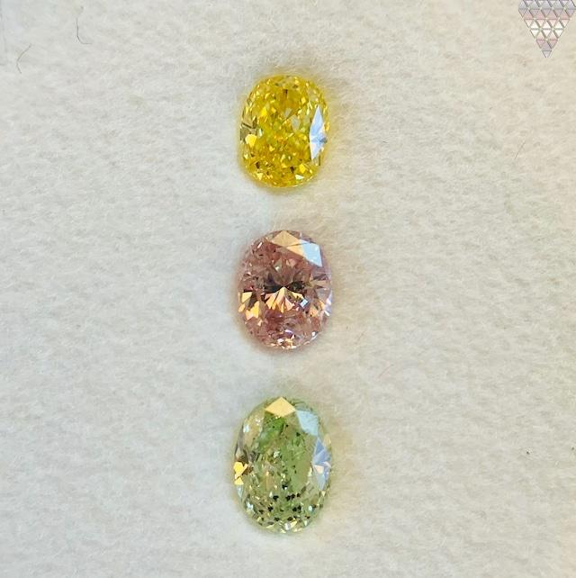 合計  0.64 ct 天然 カラー ダイヤモンド 3 ピース GIA  2 点 付 マルチスタイル / カラー FANCY DIAMOND 【DEF GIA MULTI】