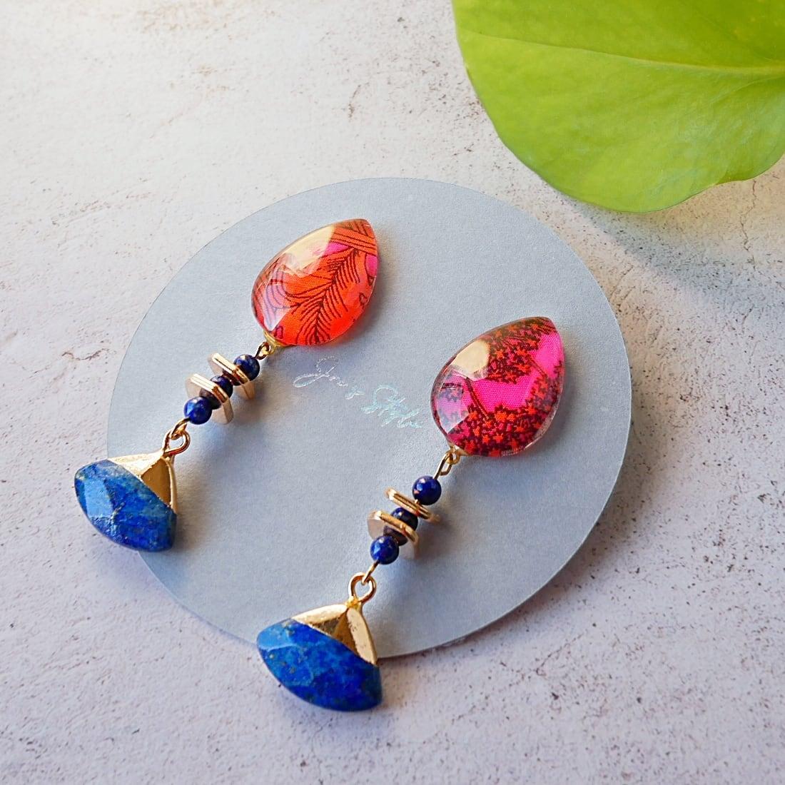 """ Earrings NO.0-1977″ リバティ&ラピスラズリ"