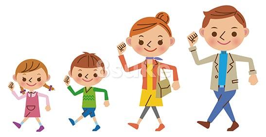 イラスト素材:元気に歩く4人家族(ベクター・JPG)