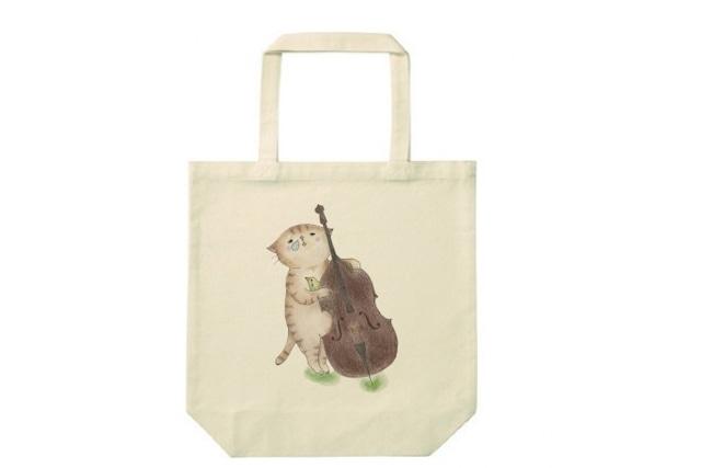 コントラバス猫のトートバッグ