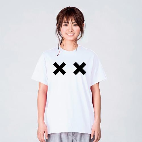 目がばってん Tシャツ メンズ レディース 半袖 かわいい シンプル ゆったり おしゃれ トップス 白 30代 40代 ペアルック プレゼント 大きいサイズ 綿100% 160 S M L XL