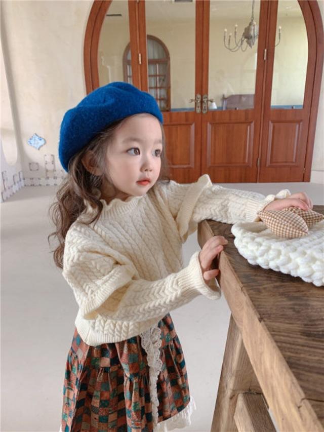 【お取り寄せ】80-130 ラッフルニット 子供 秋冬 ベビー 暖かい ニット セーター