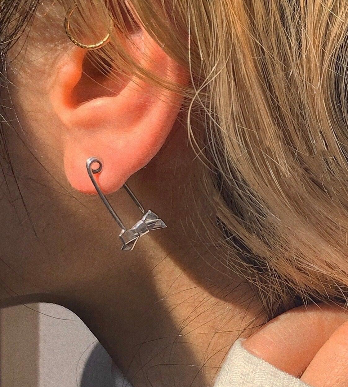 ribbon pin earring SILVER925 #1727 16G       りぼん安全ピンピアス/シルバー925
