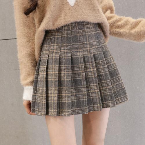 3色/チェック柄プリーツウールスカート ・19532
