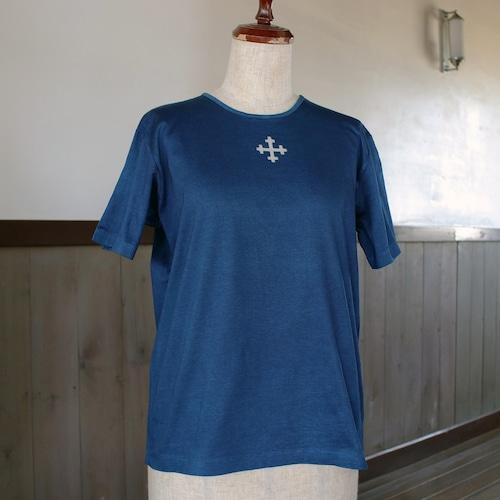 ラトビア柄藍染TシャツL(as72)