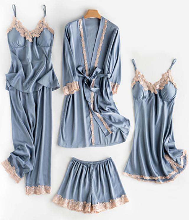 春夏秋のパジャマ5点セット(胸パット付き)
