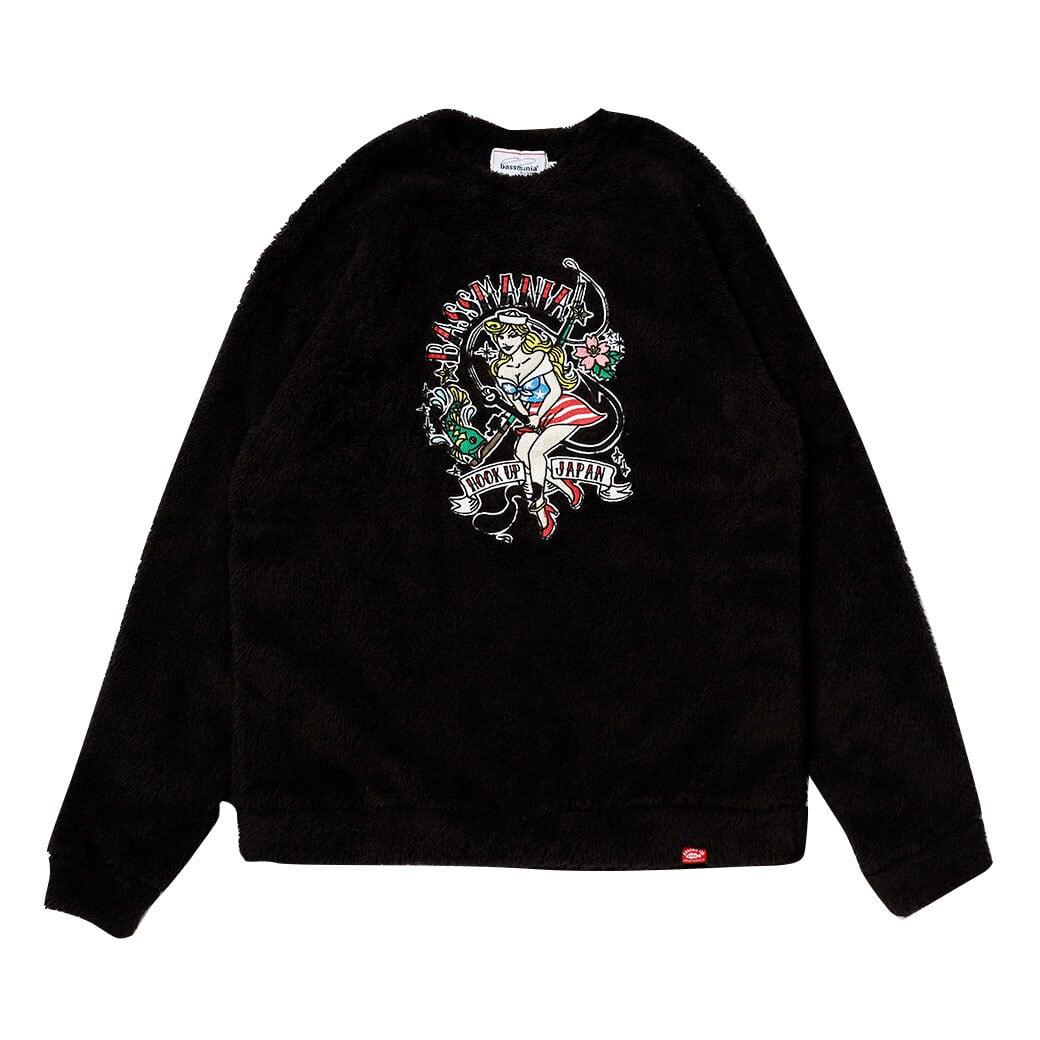 TURI GIRL刺繍ファーボアクルーネック [ブラック] 【限定生産】