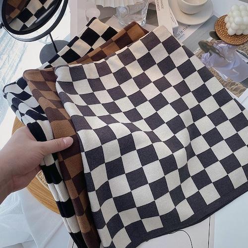 3色/ブロックチェックニットスカート ・19613