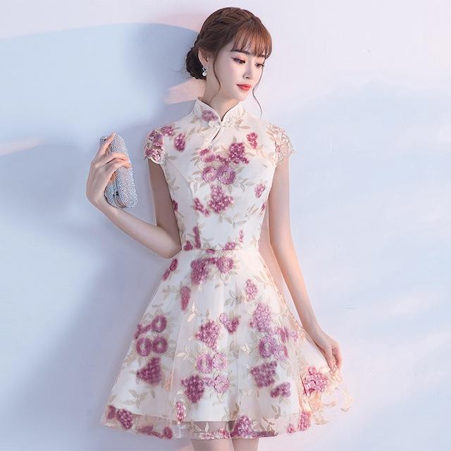 ショートチャイナドレス 花刺繍入り 成人式 パーティー 半袖 XS S M L LL 3L イブニングドレス スウィート