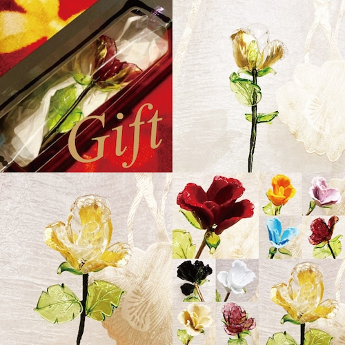 Item776 箱入り ヴェネチアンガラス ローズ ガラスの薔薇 金箔 クリスタル