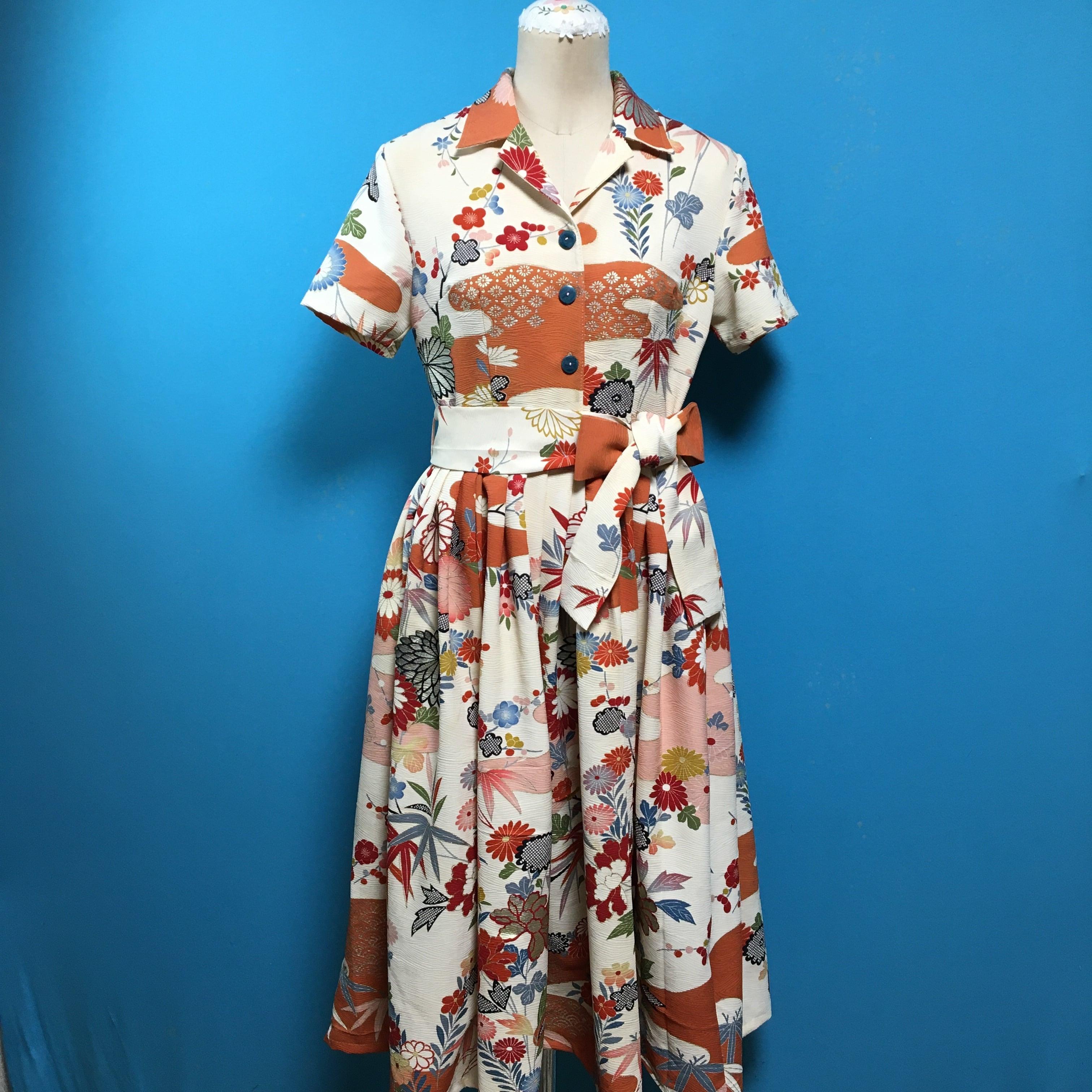 Vintage 駒綸子のオープンカラーシャツワンピース