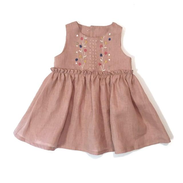 リネン刺繍ワンピース オールドピンク
