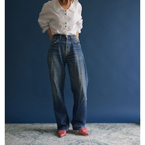 【送料無料】80's-90's Vintage puff slleve Frilly Blouse(80年〜90年代 アンティーク 古着 パフスリーブ レース ブラウス)